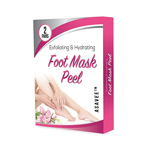 ASAVEE Exfoliating and Hydrating Foot Mask Peel-Perfectly Peel Away Calluses and Dead Skin, Repair Cracked Heels-2 Pairs