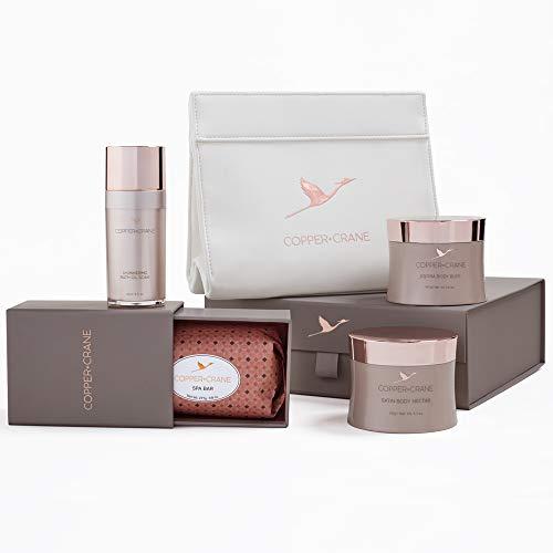 Bath Ritual Home Spa Set | Super-Hydrating Spa Bar + Body Lotion + Bath Oil Soak + Exfoliating Body Scrub with Free Spa Bag | Paraben and Sulfate Free| COPPER+CRANE Bath Gift Basket