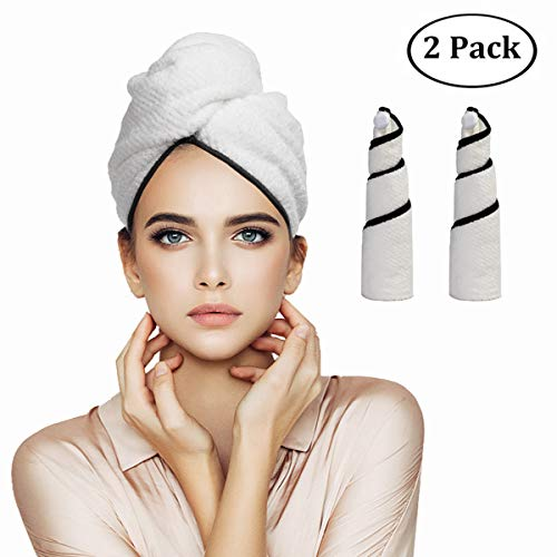 Orthland Microfiber Hair Towel Wraps for Women 2 Pack Anti-frizz Quick Dry Magic Head Turban Hat Shower Caps for Long Thick & Curly Hair, Super Absorbent, Fast Drying & Never Falls Off