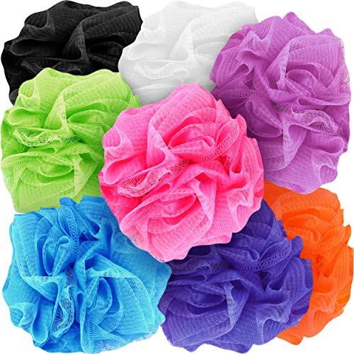Counterfeit Blonde's Mesh Bath Sponges, 8-Pack Multi-Color Bath Loofah Sponge Assortment