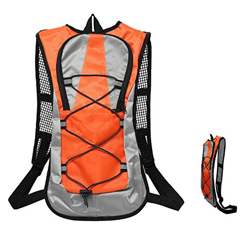 iOutdoor Products Bike Backpack 5L Breathable Ultra-Thin Cycling Rucksack Small Running Backpack Water Resistant with Safe Reflective Strip for Marathon Riding Hiking Men Women Kids Orange