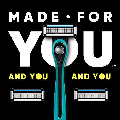 Made For YOU by BIC Shaving Razor Blades for Men & Women, with 2 Cartridge Refills – 5-Blade Razors for a Smooth Close Shave & Hair Removal, TEAL
