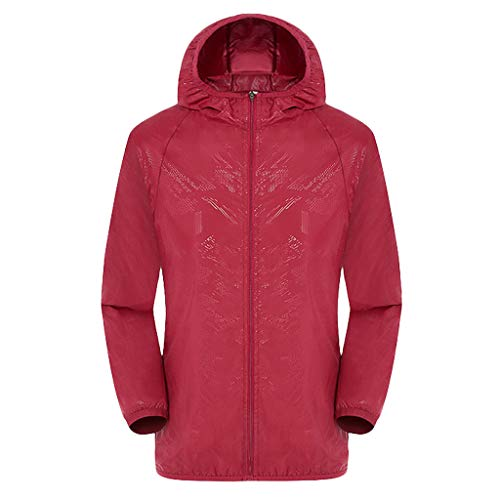 Women's& Men's Ultra-Light Rainproof Windbreaker Sun-Proof Quick Dry Athletic Jacket Hooded Bicycle Cycling Wind Coat Tops Red, Asia Size:2XL