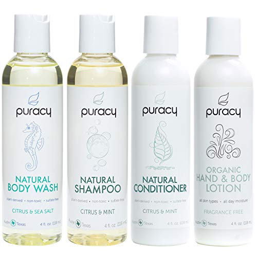 Puracy Organic Personal Care Travel Set 4-Pack, Natural Body Wash, Shampoo, Conditioner, Lotion Gift Box