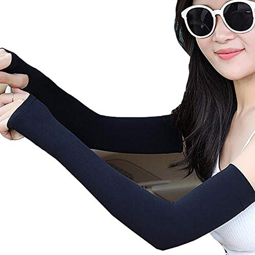 HuoLian Cooling Arm Sleeves UV Protection Sun Sleeves for Men Women Sunblock Cooler Protective Sleeves Outdoor Sports Black