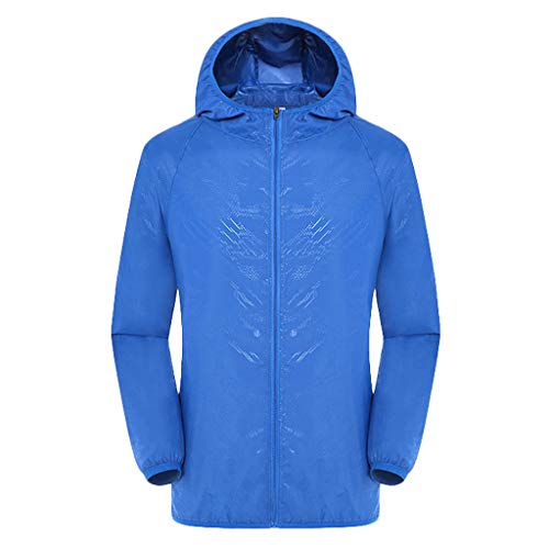 Women's& Men's Ultra-Light Rainproof Windbreaker Sun-Proof Quick Dry Athletic Jacket Hooded Bicycle Cycling Wind Coat Tops Blue, Asia Size:4XL
