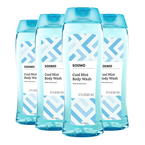 Amazon Brand – Solimo Body Wash, Cool Mist Scent, 21 Fl. Oz Pack of 4