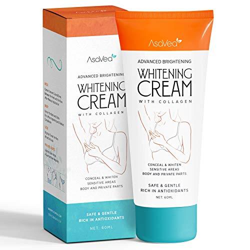 Brightens, Nourishes, Moisturizes Underarm, Neck, Knees, Elbows by AsaVea – Effective Lightening Cream – with Collagen – Whitening Cream for Armpits, Intimate Parts, Between Legs