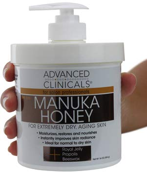 Advanced Clinicals Manuka Honey Cream for Extremely Dry, Aging Skin For Face, Neck, Hands, and Body. Spa Size 16oz. 16oz
