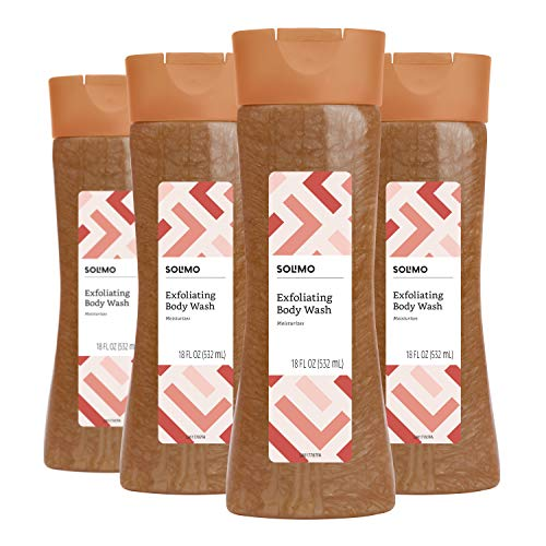 Solimo Exfoliating Body Wash, 18 Fluid Ounce Pack of 4 – Amazon Brand