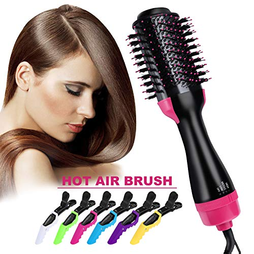 Hair Dryer Brush, Homga Hot Air Brush One Step Hair Dryer & Volumizer,3-IN-1 Multi-functional Negative Ion Electric Hair Blow Dryer & Styler Hair Straightener Curler Salon Hair Comb with 6 Hair Clips