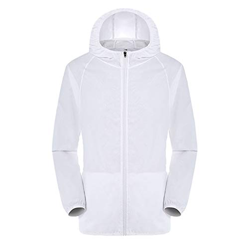 Women's& Men's Ultra-Light Rainproof Windbreaker Sun-Proof Quick Dry Athletic Jacket Hooded Bicycle Cycling Wind Coat Tops White, Asia Size:3XL