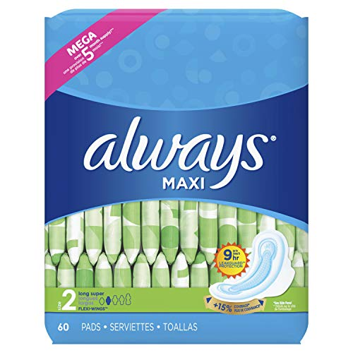 Always Maxi Feminine Pads for Women, Size 2, Long, Super Absorbency, with Wings, Unscented, 60 Count Packaging May Vary