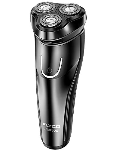 Electric Razor for Men,FLYCO Wet & Dry Mens Razors for Shaving Electric Cordless With Pop-up Trimmer,Rotary Razors Electric Shavers for Men Waterproof Rechargeable -Black