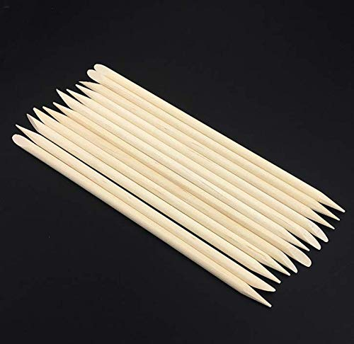 4.3 Inch Orange Wood Sticks Cuticle Pusher Remover Nail Art Manicure Pedicure Tool,Pack of 50