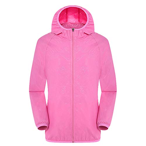 Women's& Men's Ultra-Light Rainproof Windbreaker Sun-Proof Quick Dry Athletic Jacket Hooded Bicycle Cycling Wind Coat Tops Pink, Asia Size:S