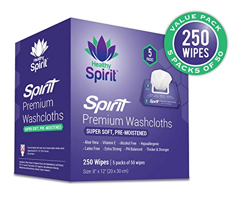 Adult Wipes Extra Large, Adult Wipes for Incontinence & Cleansing, 8″x12″, 250 Count, White – Healthy Spirit Disposable Washcloths 250 Count