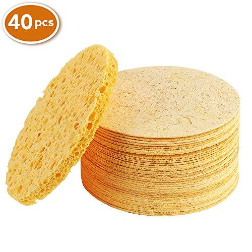 Facial Sponges, Compressed Natural Cellulose Facial Sponge for Facial Cleansing Facial Exfoliating Facial SPA Massage 40 Count