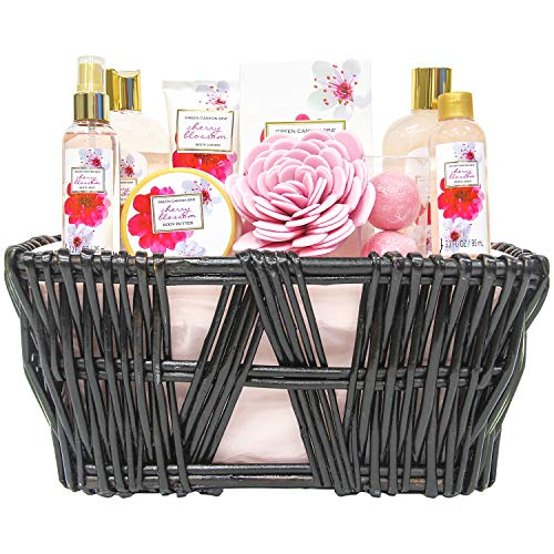 Green Canyon Spa Gift Baskets for Women Birthday Gift Sets 10 Pcs Cherry Blossom Essential Oil Spa Gift Sets with Handmade Weaved Basket