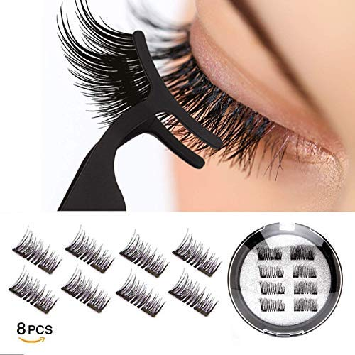 Vassoul Dual Magnetic Eyelashes, 0.2mm Ultra Thin Magnet, Light weight & Easy to Wear, Best 3D Reusable Eyelashes with Applicator 8 PC with Tweezers