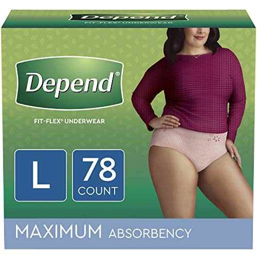 Depend FIT-FLEX Incontinence Underwear for Women, Disposable, Maximum Absorbency, L, Blush, 78 Count