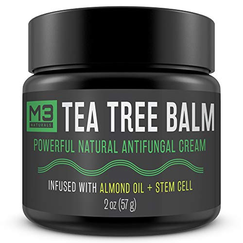 M3 Naturals Tea Tree Balm Infused with Almond Oil and Stem Cell Powerful All Natural Antifungal Cream Treat Eczema Athletes Foot Jock Itch Nail Fungus Skin Infections Irritation Anti Fungal Treatment