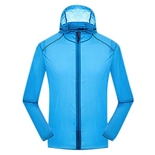 Women's& Men's Ultra-Light Rainproof Windbreaker Sun-Proof Quick Dry Athletic Jacket Hooded Bicycle Cycling Outdoor Coat Tops Sky Blue, Asia Size:M