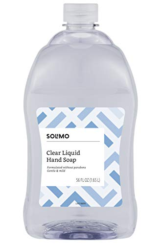 Solimo Gentle & Mild Clear Liquid Hand Soap  Refill, Triclosan-free, 56 Fluid Ounce – Amazon Brand