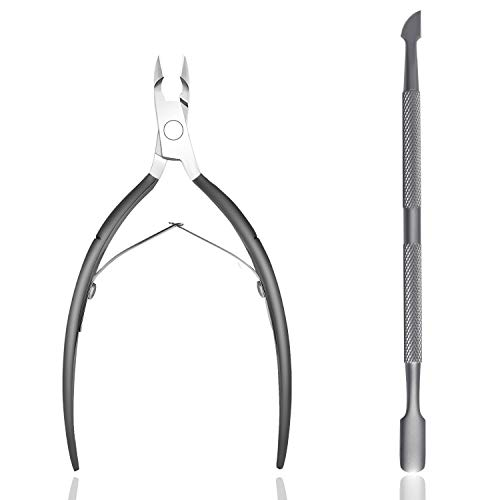 Cuticle Trimmer with Cuticle Pusher – ECBASKET Cuticle Cutter Clipper Nipper Dead Skin Remover Scissor Plier Durable Manicure Pedicure Tools for Fingernails and Toenails Gray