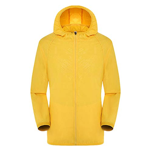 Women's& Men's Ultra-Light Rainproof Windbreaker Sun-Proof Quick Dry Athletic Jacket Hooded Bicycle Cycling Wind Coat Tops Yellow, Asia Size:2XL