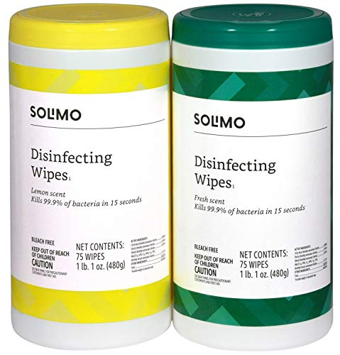 Amazon Brand – Solimo Disinfecting Wipes, Lemon Scent & Fresh Scent, 75 Wipes Each Pack of 2
