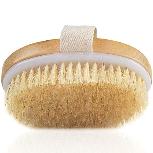 Dry Brushing Body Brush – Natural Bristle Dry Brush for Remove Dead Skin Toxins Cellulite,Treatment,Improves Lymphatic Functions,Exfoliates,Stimulates Blood Circulation,Single-Oval – Exfoliating Brush