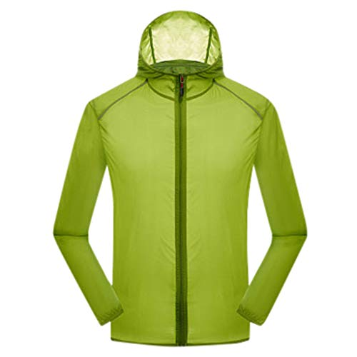 Women's& Men's Ultra-Light Rainproof Windbreaker Sun-Proof Quick Dry Athletic Jacket Hooded Bicycle Cycling Outdoor Coat Tops Green-YQT, Asia Size:2XL