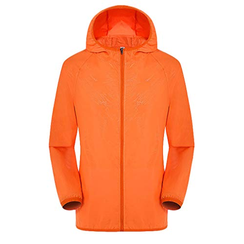 Women's& Men's Ultra-Light Rainproof Windbreaker Sun-Proof Quick Dry Athletic Jacket Hooded Bicycle Cycling Wind Coat Tops Orange, Asia Size:M