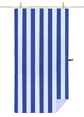 SUNLAND Microfiber Towel Ultra Compact Absorbent and Fast Drying Travel Sports Beach Towels Blue/White, 1 Pack 32inch x 60inch