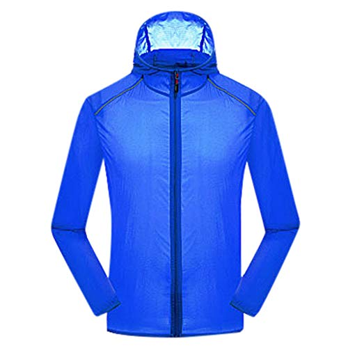 Women's& Men's Ultra-Light Rainproof Windbreaker Sun-Proof Quick Dry Athletic Jacket Hooded Bicycle Cycling Outdoor Coat Tops Blue-YQT, Asia Size:M