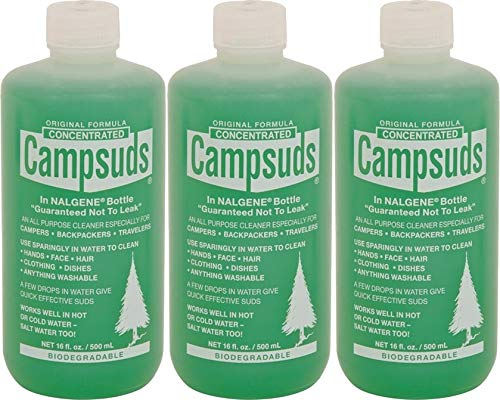 Sierra Dawn Campsuds Outdoor Soap in Nalgene Bottle, Biodegradable Environmentally Safe All Purpose, Camping Hiking Backpacking Travel, Multipurpose Dishes Shower Hand Shampoo 16-Ounce, 3 Bottles