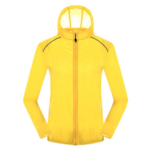 Women's& Men's Ultra-Light Rainproof Windbreaker Sun-Proof Quick Dry Athletic Jacket Hooded Bicycle Cycling Outdoor Coat Tops Yellow-YQT, Asia Size:L