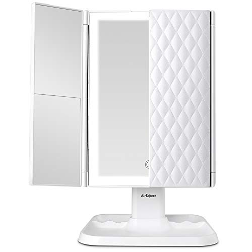 Makeup Mirror Vanity Mirror with Lights – 3 Color Lighting Modes 72 LED Trifold Mirror, Touch Control Design, 1x/2x/3x Magnification, Portable High Definition Cosmetic Lighted Up Mirror