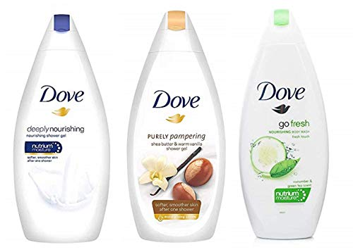Dove Body Wash Variety Pack- Shea Butter with Warm Vanilla, Deeply Nourishing and Cucumber & Green Tea – 16.9 Ounce / 500 Ml Pack of 3 International Version