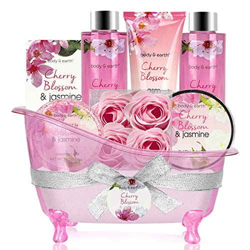 Body&Earth 8 Pcs Gift Basket with Cherry Blossom & Jasmine Scent, Includes Bubble Bath, Shower Gel, Body & Hand Lotion, Bath Salts and More, Perfect Gifts Set for Home Relaxation – Bath Set for Women