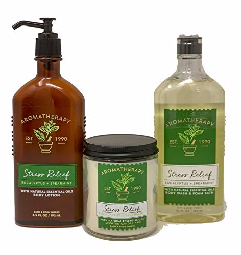 Eucalyptus + Spearmint Body Lotion, 6.5 Fl Oz + Body Wash & Foam Bath, 10 Fl Oz, Wick Candle, All With Essential Oils – Bath & Body Works Aromatherapy Stress Relief Diffuser, Prime Spa Bundle