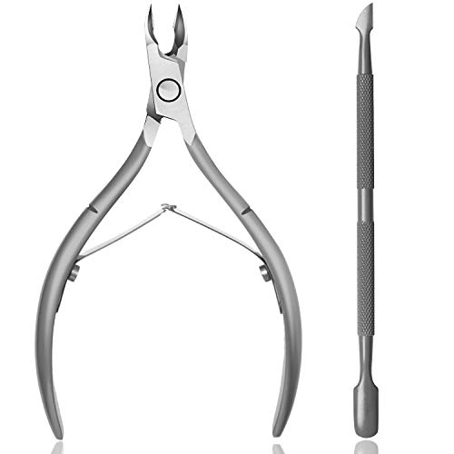 Cuticle Trimmer with Cuticle Pusher – Ejiubas Cuticle Remover Cuticle Nippers Professional Upgraded Stainless Steel Cuticle Cutter Durable Pedicure Manicure Tools for Fingernails and Toenails