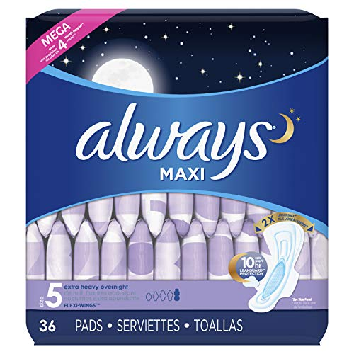 Always Maxi Feminine Pads for Women, Size 5, Extra Heavy Overnight Absorbency, with Wings, Unscented, 36 Count- Pack of 4 144 Count Package May Vary