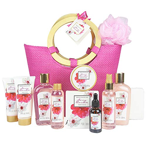 Green Canyon Spa Gift Baskets for women in Pink Tote Bag Upgraded 12 Pcs Spa Gift Sets Cherry Blossom Collective Birthday Gift for Her