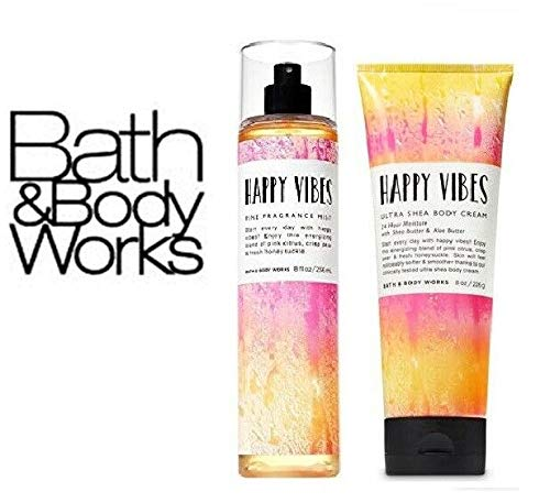 Fine Fragrance Mist & Body Cream – Bath and Body Works Happy Vibes Gift Set – Full Size