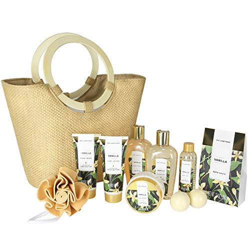 Deluxe Spa Tote Bag with Wooden Handle, Bath Salt, Hand Soap/Cream, Shower Gel and Moe! – Spa Luxetique Vanilla Spa Gift Baskets for Women, Premium 10pc Gift Baskets, Best Holiday Gift Set for Women