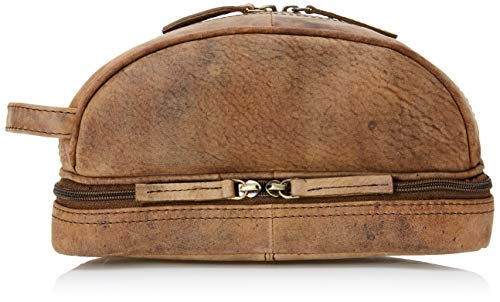 Ruzioon Genuine Buffalo Leather Unisex Toiletry Bag Travel Dopp Kit, 10 Inch