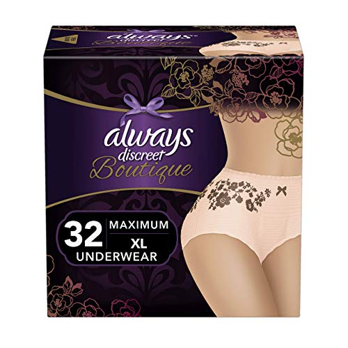 Always Discreet Boutique Incontinence & Postpartum Underwear for Women, Disposable, Maximum Protection, Peach, Small/Medium, 20 Count – Pack of 2 40 Count Total