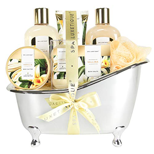 Best Holiday Gift Set for Women Includes Shower Gel, Bubble Bath, Body Butter & More. – Spa Luxetique Spa Gift Basket Vanilla Fragrance, Luxurious 8pc Gift Baskets for Women, Cute Bath Tub Holder